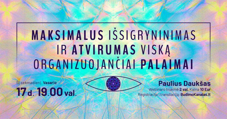 Paulius Daukšas Budimo Kanalas Webinaras Maksimalus Išsigryninimas ir Atvirumas Viską Organizuojančiai Palaimai